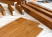Stained wood pieces with polyurethane